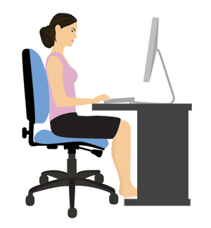 Ergonomic chair sitting correctly